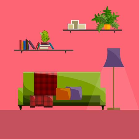 Living room Interior. Modern flat design of living room illustration. Living room wall. Furniture for living room. Living room in flat style. Concept for living room. Living room interior set. Stock Illustratie