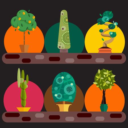 boom: Vector Set van kamerplanten in potten. Illustratie van de vloer bomen homeplants voor het interieur. Planten voor huisdecoratie. Pot boom homeplants met namen. Grote vloer homeplants boom set.