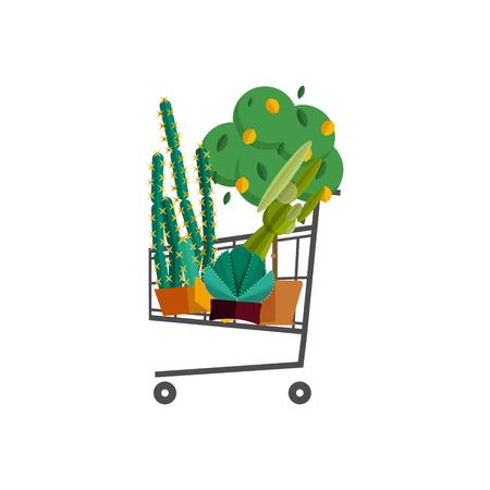 florist: Florist shop.Shopping cart with plants.Flower store flat design.Plants in floristic shop.Sale in flower shop.Shopping plant store.Big flower sale.Shopping cart full of flowers,trees and potted plants.