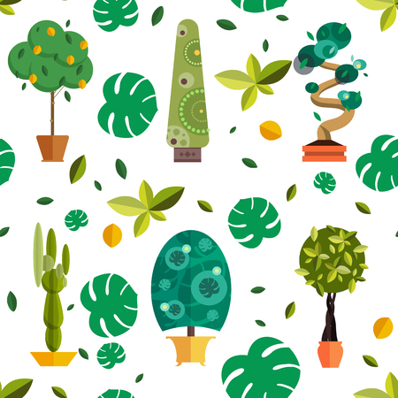 houseplants: Seamless pattern with houseplants, indoor and office flowers in pot. Seamless pattern with home plants for garden or home. Seamless pattern potted plants. Flat plants, vector plants pattern. Home plant for greenhouse seamless.