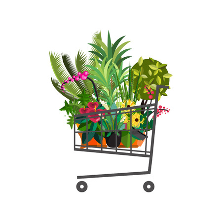 Florist shop.Shopping cart with plants.Flower store flat design.Plants in floristic shop.Sale in flower shop.Shopping plant store.Big flower sale.Shopping cart full of flowers,trees and potted plants.