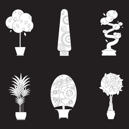 houseplants: Illustration of houseplants, indoor and office plants in pot. Home plants for garden or home. Set of potted plants. Flat plants, vector plants icon set. Home plant for greenhouse. Illustration