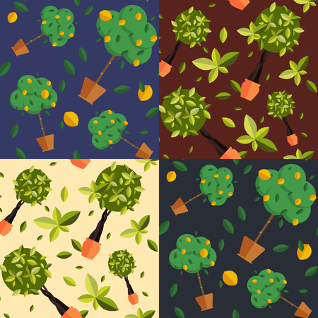 indoor: Seamless pattern with houseplants, indoor and office flowers in pot.