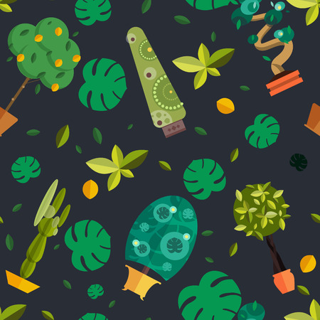 houseplants: Seamless pattern with houseplants, indoor and office flowers in pot.