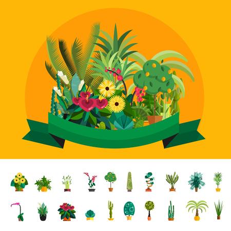 florist: Florist shop.Plants composition.Flower store flat design.Plants in floristic shop.Sale in flower shop.Shopping plant store.Big flower sale.Plants composition with flowers,trees and potted plants. Illustration