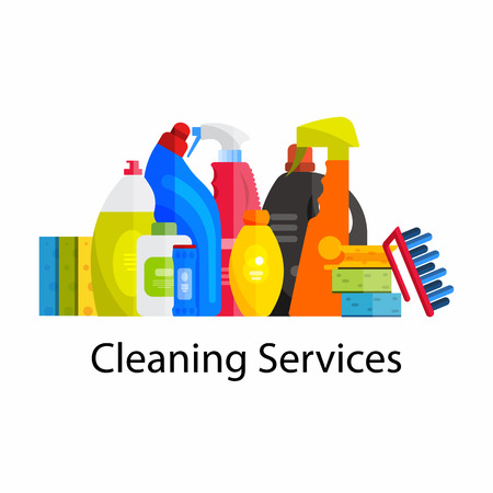 Vector set of cleaning tools. Flat design style. Cleaning supplies isolated. Cleaning bottles, Stuff for cleaning room and house. Cleaning concept. Set of cleaning products. Иллюстрация