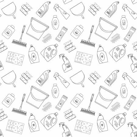 Décrivez les produits de nettoyage sans soudure et motif matériel de fond. Accueil motif de nettoyage, produits de nettoyage, Vector set d'outils de nettoyage isolé. Appartement style de conception de contour.