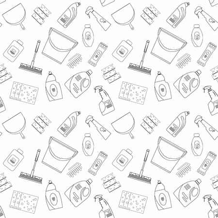 Esquema de productos de limpieza sin costura y el patrón de los equipos de fondo. patrón de limpieza para el hogar, productos de limpieza, Vector conjunto de herramientas de limpieza aislado. estilo de diseño de base plana.