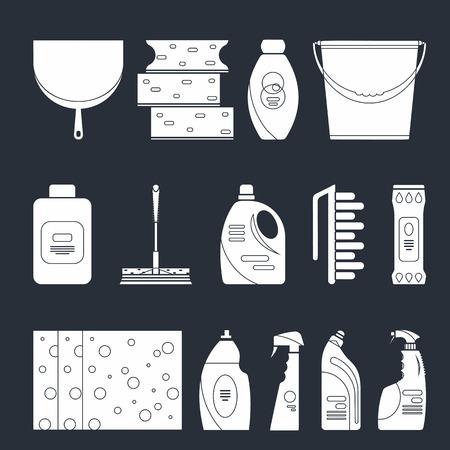 Outline naadloze schoonmaakmiddelen en apparatuur patroon als achtergrond. Schoonmaken van het huis patroon, reinigingsmiddelen, Vector set van reinigen van gereedschappen geïsoleerd. Flat schetsontwerp stijl.