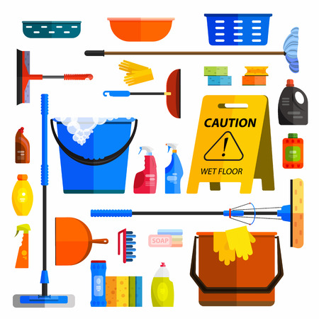 Vector set of cleaning tools. Flat design style. Cleaning supplies isolated. Cleaning bottles, Stuff for cleaning room and house. Cleaning concept. Set of cleaning products.  イラスト・ベクター素材