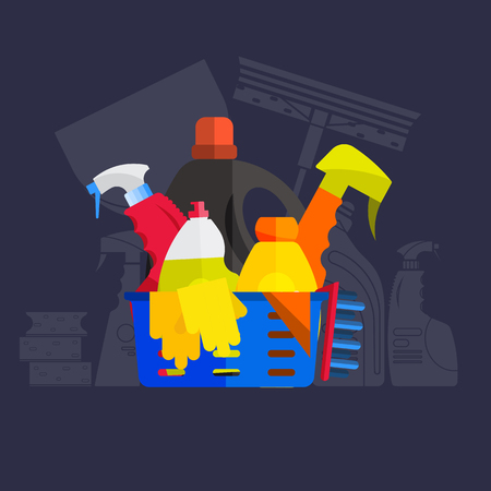 Vector set of cleaning tools. Flat design style. Cleaning supplies isolated. Cleaning bottles, Stuff for cleaning room and house. Cleaning concept. Set of cleaning products. Ilustração