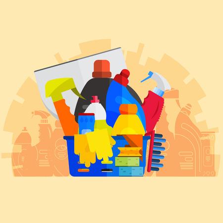 Vector reeks van het schoonmaken van hulpmiddelen. Platte design stijl. Schoonmaak benodigdheden geïsoleerd. Het schoonmaken van flessen, spullen voor het reinigen kamer en het huis. Het schoonmaken concept. Set van schoonmaakmiddelen. Stockfoto - 55941054