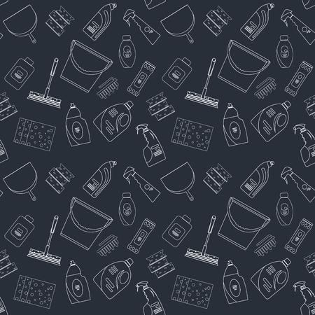 Skizzieren nahtlose Reinigungsprodukte und Ausrüstung Hintergrundmuster. Startseite Reinigungsmuster, Reinigungsmittel, Vector Reihe von Reinigung von Werkzeugen isoliert. Wohnung Umriss Design-Stil.