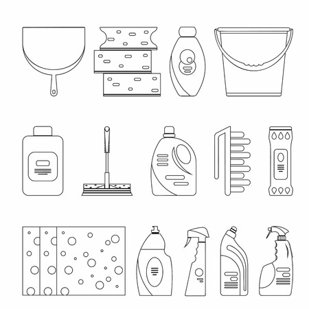 home products: Outline seamless cleaning products and equipment background pattern. Home cleaning pattern, Cleaning supplies, Vector set of cleaning tools isolated. Flat outline design style.