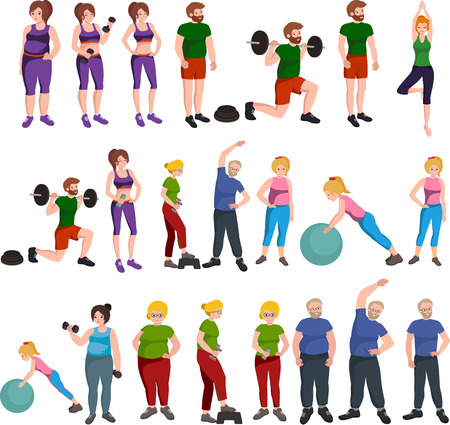 People with different body mass. Weight loss people, before and after weight loss, old and young people doing exercise Healthy fitness and sport family. Illustration