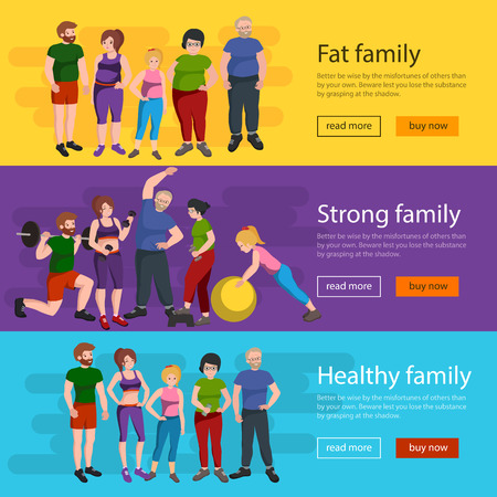 dieting: People with different body mass. Weight loss people, before and after weight loss, old and young people doing exercise Healthy fitness and sport family. Illustration