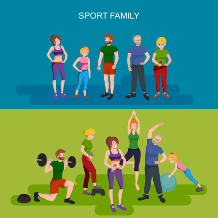 Sports and Fitness People, Healthy family vector illustration. Healthy man, woman and children doing exercises, yoga.Girl with ball, man barbell, old persons physical activity. Sport people gymnastics Ilustracja
