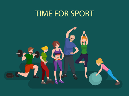Sports and Fitness People, Healthy family vector illustration. Healthy man, woman and children doing exercises, yoga.Girl with ball, man barbell, old persons physical activity. Sport people gymnastics Иллюстрация