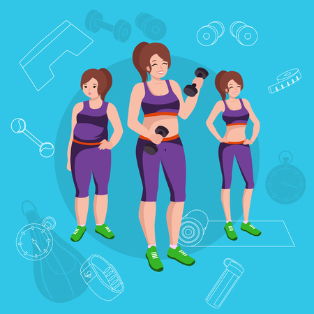 slim woman: People with different body mass. Weight loss people, before and after weight loss, old and young people doing exercise Healthy fitness and sport family. Illustration