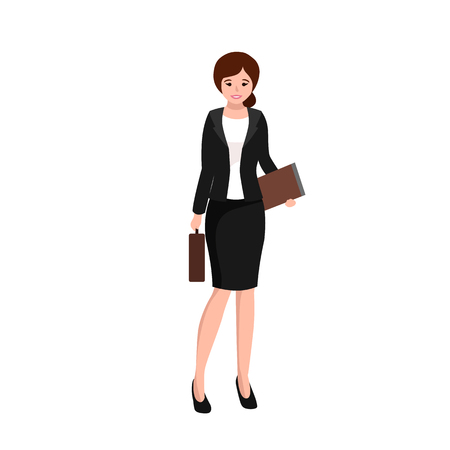 keeper: business woman working in office, worker with file keeper and bag