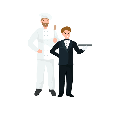restaurant staff: Lovely line-up group of restaurant staff characters in trendy flat design, vector. Chef, assistants, manager or host, waitress or hostess. Catering professionals team personages