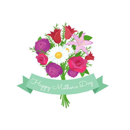 illustraion: Vector illustraion bouquet flowers greeting cart Happy Mothers Day