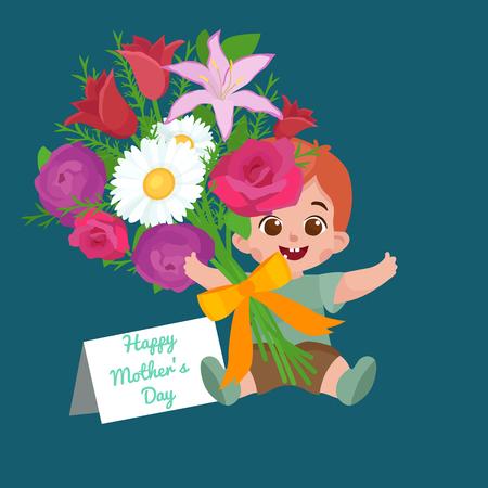 illustraion: Vector illustraion of greeting cart baby boy Happy Mothers Day Illustration