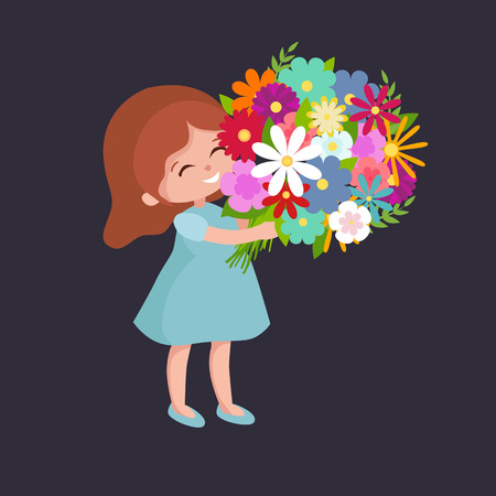 illustraion: Vector illustraion baby girl with flowers greeting cart Happy Mothers Day