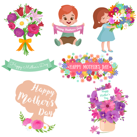 Baby girl and boy with bouquet of flowers Happy Mothers Day