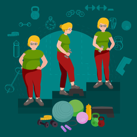 before: before and after weight loss women in gym concept fitness vector illustration