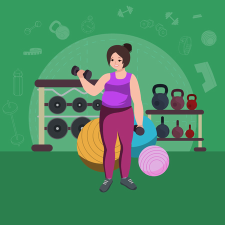 pretty young girl: Plus size fat woman. Young pretty cartoon style fitness girl in gym.