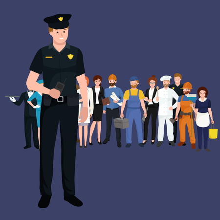 Serve and protect. Police man, officer male, vector illustration workers team