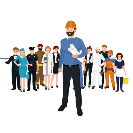 civil construction: Civil engineer, architect and construction workers characters group. Cool vector flat design construction team characters line-up. Group of construction workers in hard hats friendly smiling