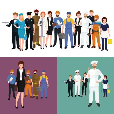 Mensen ander beroep. Man en vrouw vector illustratie set. Groep mensen