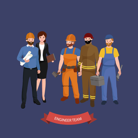 construction team: Civil engineer, architect and construction workers characters group. Cool vector flat design construction team characters line-up. Group of construction workers in hard hats friendly smiling