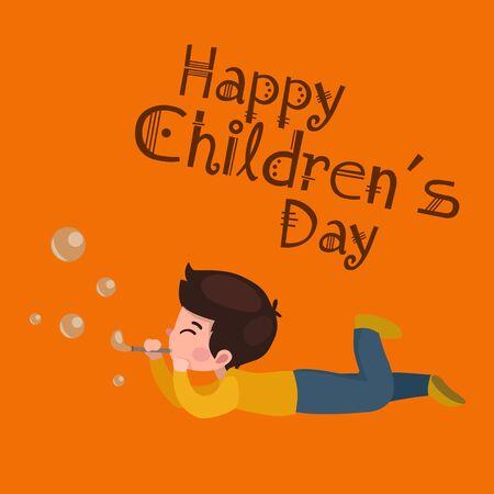 childrens playing: Vector illustration kids playing. Greeting card happy childrens day. Happy kids background Illustration