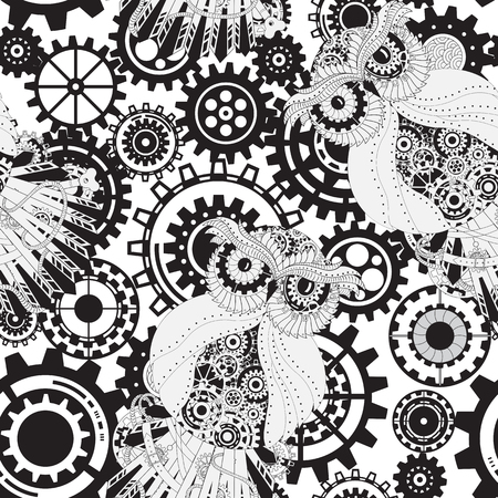 mechanical texture: Abstract Machine pattern. Seamless mechanism texture. illustration with cogwheels and mechanical parts. Black gears, steampunk seamless pattern Stock Photo