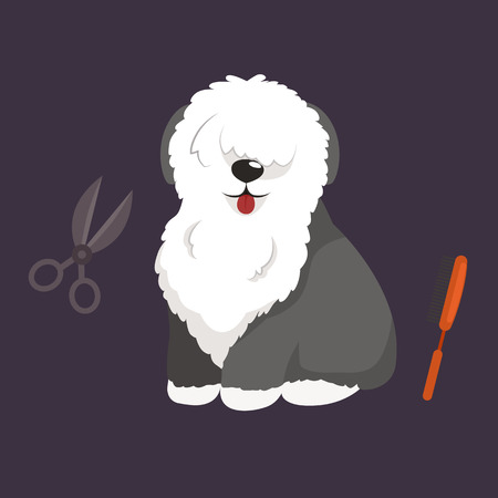 canine: Dog hair hygiene. Vector Illustration Set Pet Grooming and care, haircut