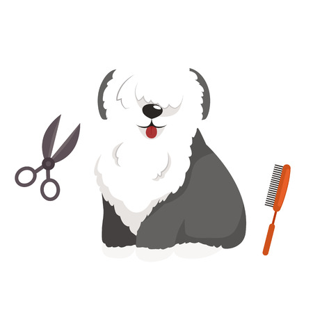 pet grooming: Dog hair hygiene. Vector Illustration Set Pet Grooming and care, haircut