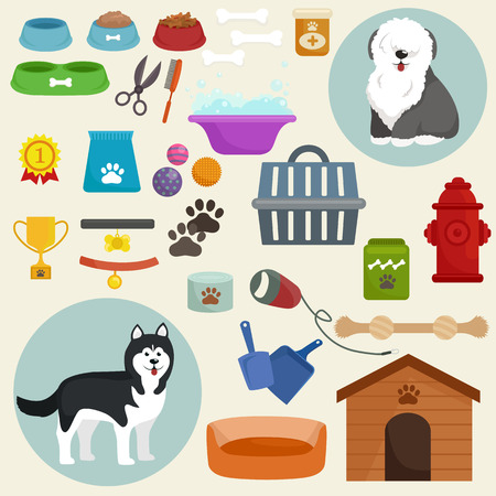 leash: Dog icons flat set with dung kennel leash food bowl isolated vector illustration
