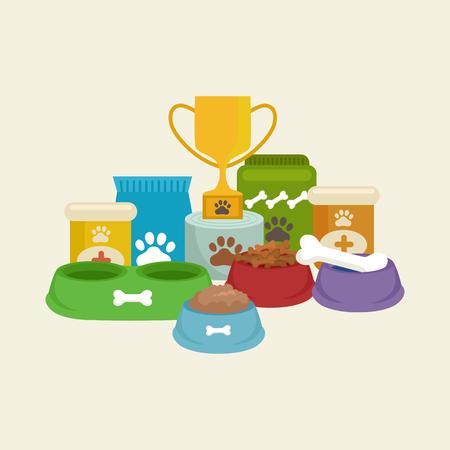 Pet shop, produits et fournitures chien, les produits en magasin pour les soins de chien Vecteurs
