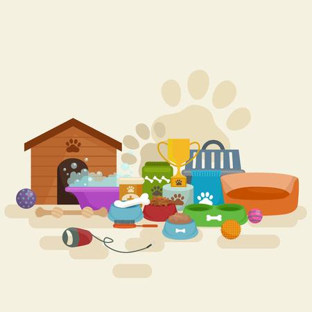 tienda de animales, productos y fuentes del perro, productos de la tienda para el cuidado del perro