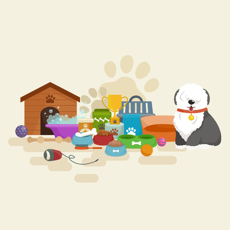 dog kennel: Happy Dog kennel, house with bone and bowl of food, vector illustration