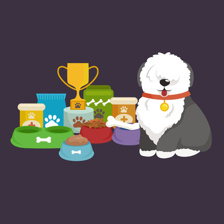cartoon illustration, Old English Sheepdog with food bowl, eating dog vector illustration