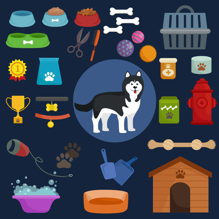 Dog icons flat set with dung kennel leash food bowl isolated vector illustration Vector Illustration