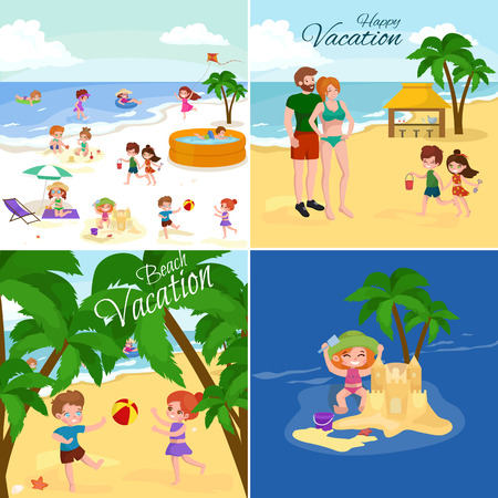 family park: Children summer vacation. Kids Playing sand around water on beach. Cute little girl in a bathing suit and Funny boy Swiming in the sea. Illustration