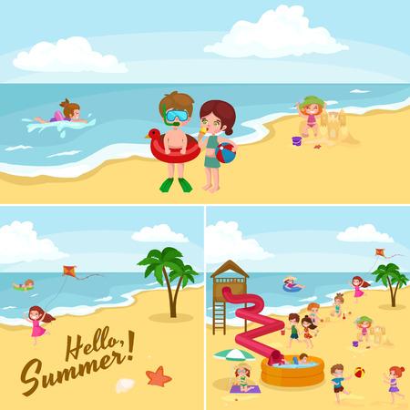 Zomer kinderen. Kinderen spelen in het zand op het strand vector illustratie Stock Illustratie