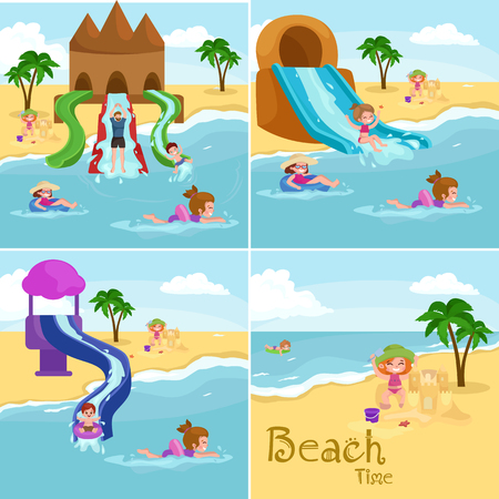 family vacation: Children summer vacation. Kids Playing sand around water on beach. Cute little girl in a bathing suit and Funny boy Swiming in the sea. Illustration