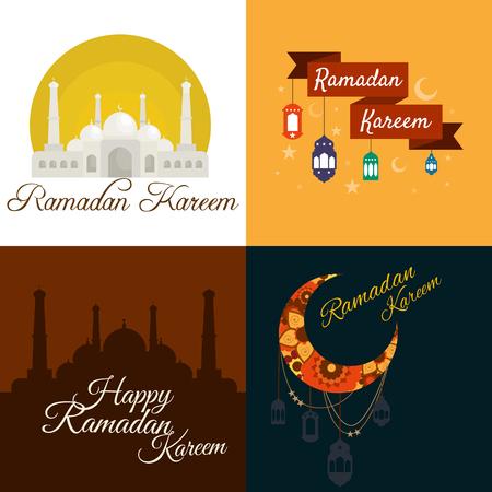 greeting card background: Happy Ramadan Kareem, greeting card and background vector illustration Illustration