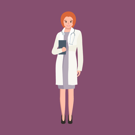 researcher: Woman doctor in white lab coat, researcher with folder vector illustration